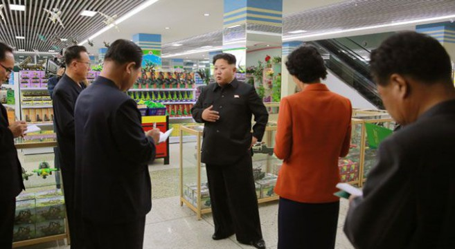 Kim at the Changgwang Shop | Photo: KCNA