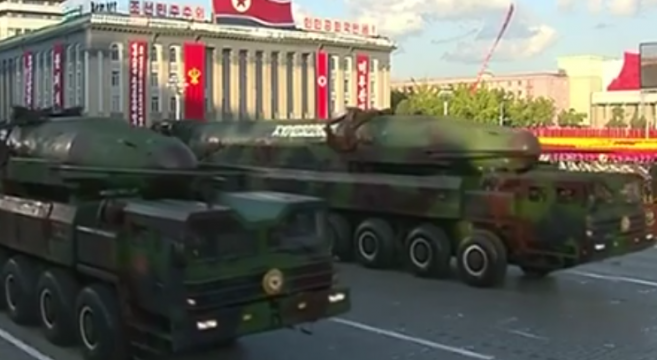 A new version of the KN-08 (Hwasong-13) in the parade. | Image: KCTV