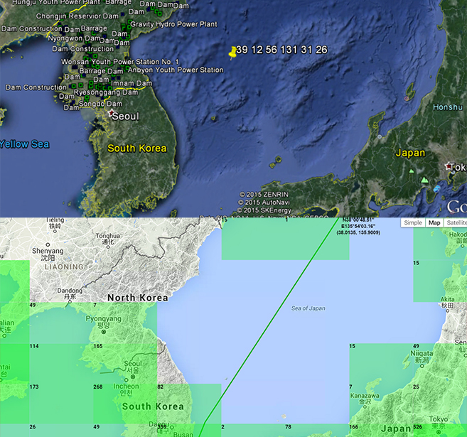 Comparison between N. Korean coordinate and data from Marine Traffic. Image credit: Google Earth, Marine Traffic