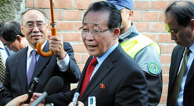 North Korean diplomat Kim Kye Gwan after a meeting with his U.S. counterpart Stephen Bosworth at a hotel on October 25, 2011 in Geneva, Switzerland. (Photo licensed by The Asahi Shimbun via Getty Images)