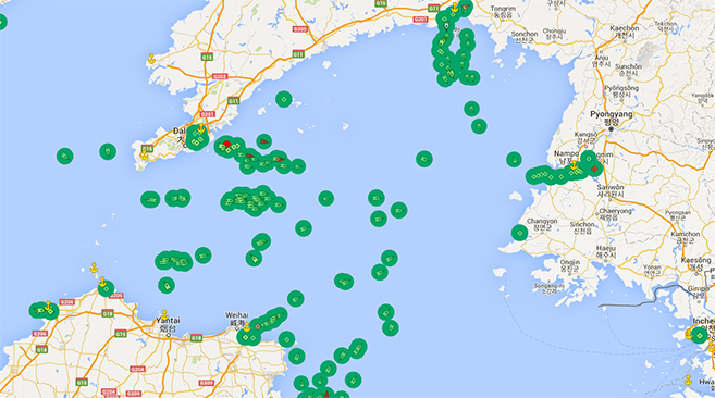 Current traffic to various Chinese ports. Image credit: Marine Traffic