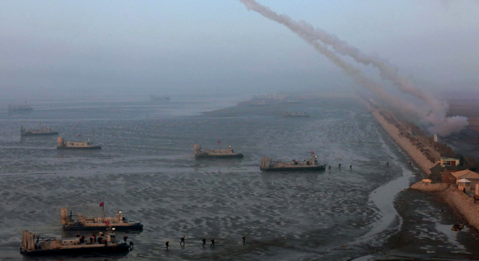 Correction: North Korea conducts naval exercise or demonstration at Nampo