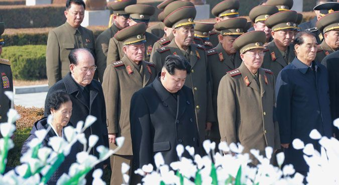 Kim Jong Un and Hwang Pyong So (to right of Kim) at the funeral of Marshal Ri Ul Sol | Photo: KCNA