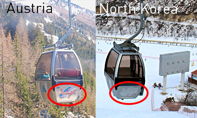 Comparison showing the stickers removed from the gondolas. Source (top), www.remontees-mecaniques.net, (bottom) NK News