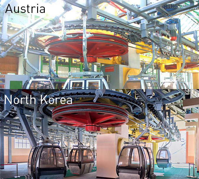 The gondola's lower mechanisms in Austria (top) and North Korea (bottom). Source (top) http://www.remontees-mecaniques.net, (bottom) DPRK 360