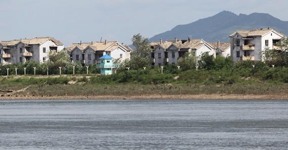 New border fence under construction on Wihwa Island near Sinuiju