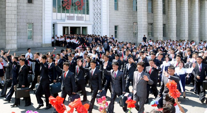 North Korean delegates arrive in Pyongyang to participate in the 9th Youth Congress | Credit: Uriminzokkiri