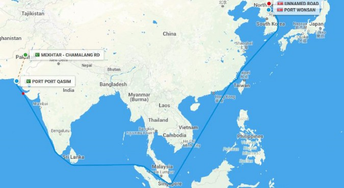 Ship-tracking information shows cargo flow from Pakistan to North Korea on 11 July 2016 I Image Credit: SeaRates.com/ Project Alpha