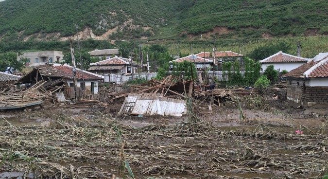 A village partially washed away by floodwaters on the road from Pyongyang to Musan county I Credit: Murat Sahin in UNICEF DPRK