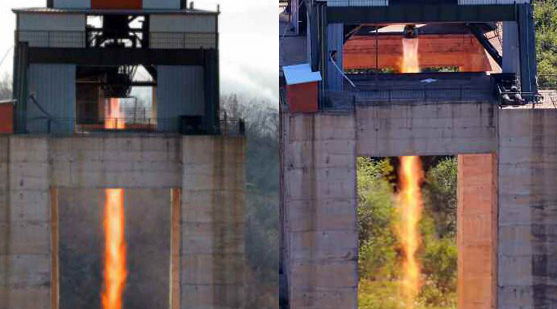 Engine test in April (Left) and September (Right) I Credit: Rodong Sinmun