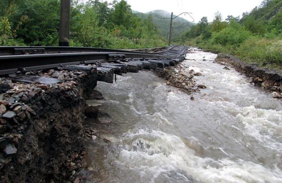 Sestroyed railroad after flood I Credit: Naenara