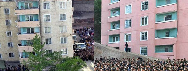 Nearby building surprisingly showed no signs of damage | Pictures: KCNA
