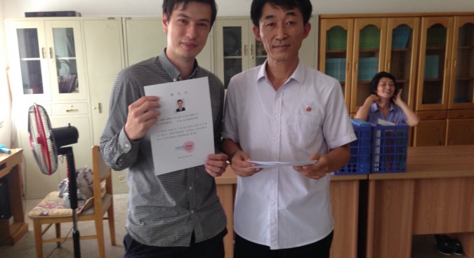 Alek with his language certificate | Photo: Tongil Tours