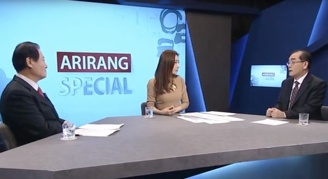 Thae talks to Arirang presenter | Picture: Arirang