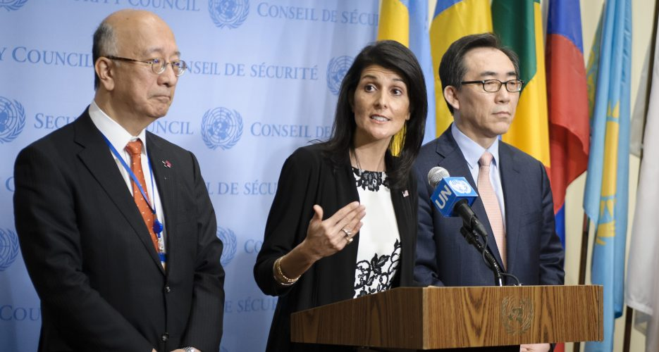"""U.S. considering """"all options"""" to deal with N. Korea, says Haley"""