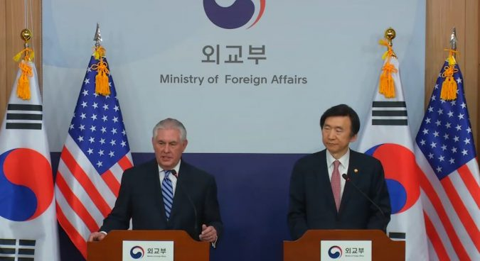 "Military action against North Korea ""on the table"", says Tillerson"