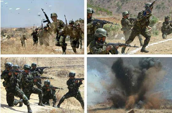 North Korean special forces simulate striking a missile base