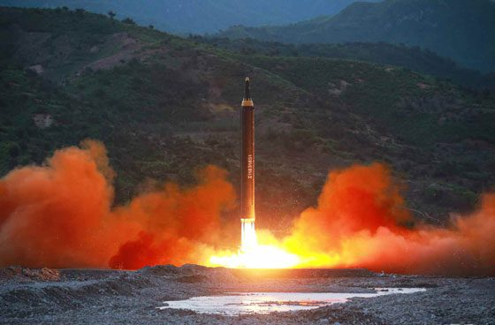 The launch of the Hwasong-15 missile, said to be capable of reaching all parts of the US