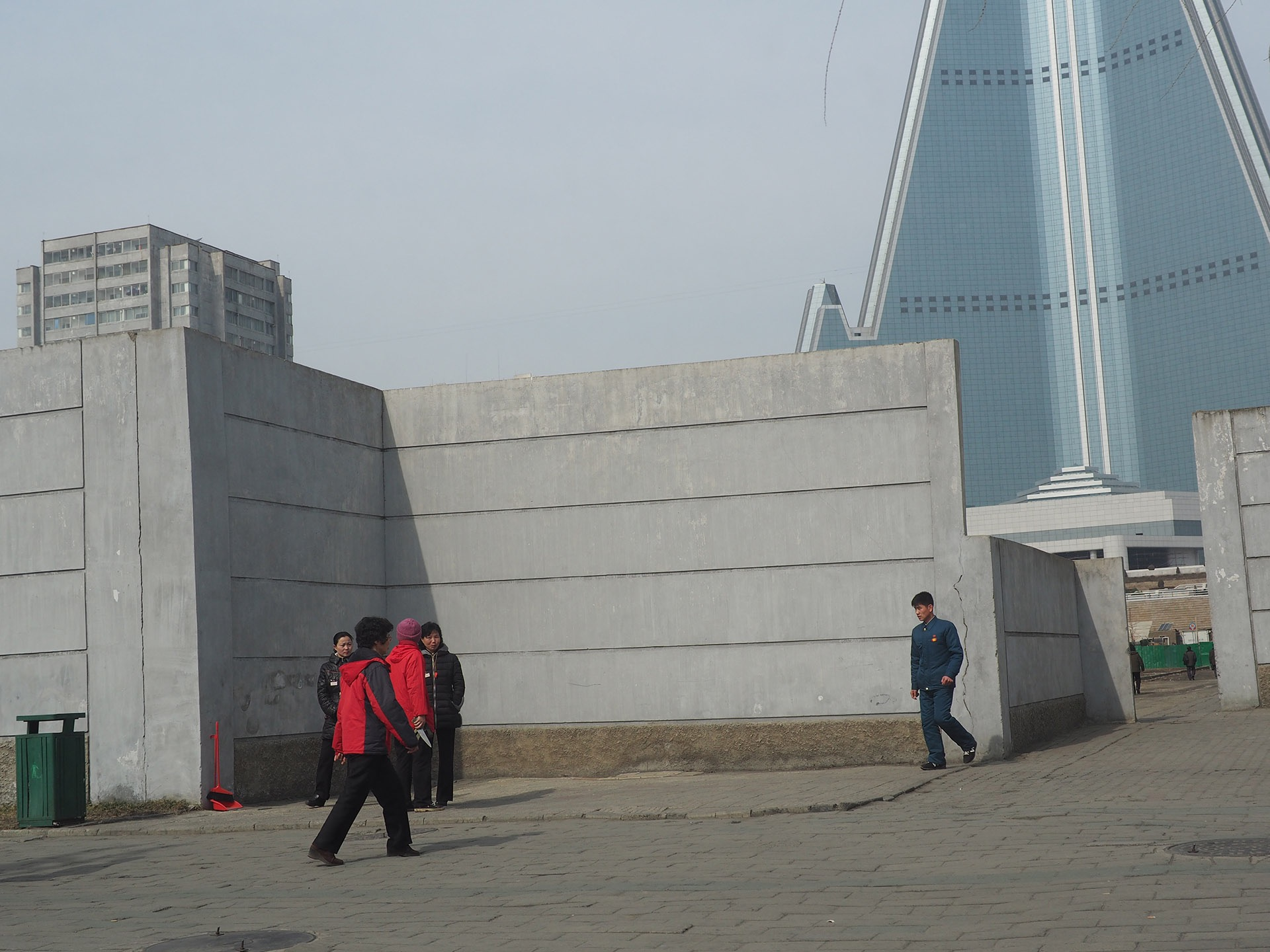 "in pictures: daily life around north korea's unfinished ""hotel of"