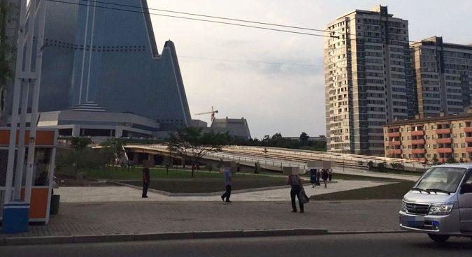 Entrance wall to Pyongyang's Ryugyong Hotel demolished