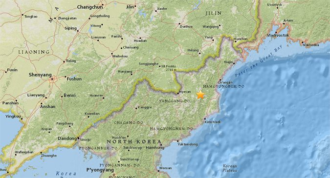 2.9 magnitude earthquake detected in North Korea