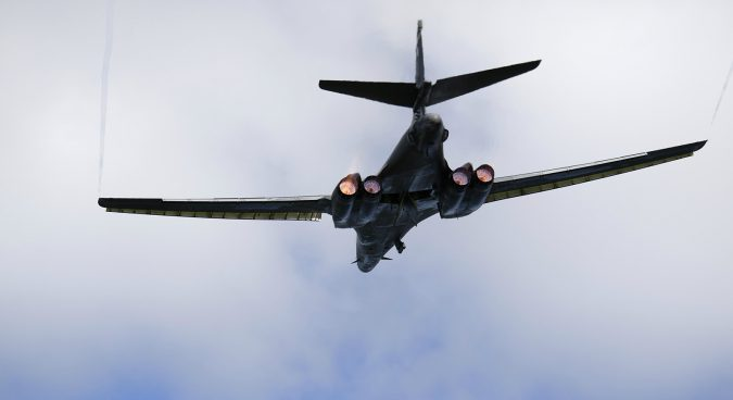 B-1B Lancer stages simulated bombing drill over Korean peninsula
