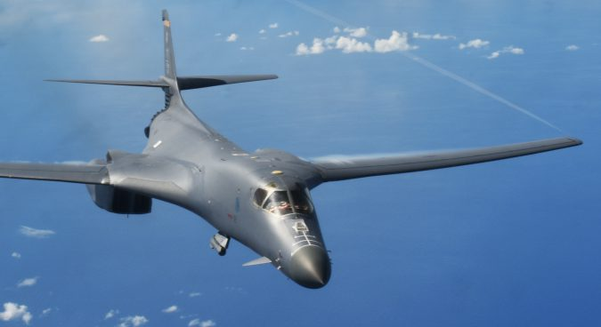 Two B-1B Lancers stage drills on western coast of Korean peninsula