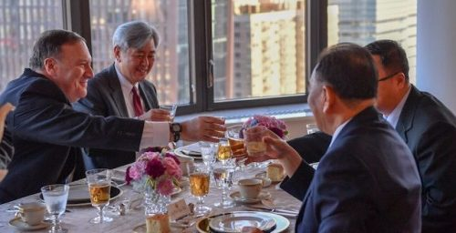 Kim Yong Chol and Mike Pompeo meet in New York for talks