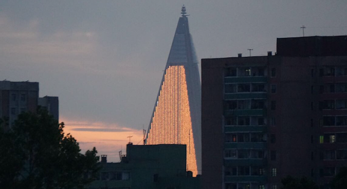 Enormous LED light wall added to side of Pyongyang's Ryugyong Hotel
