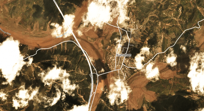 Satellite imagery reveals major flooding along Pyongyang-Kaesong highway