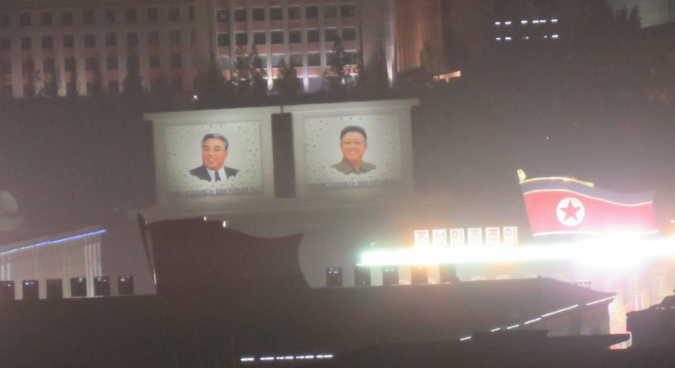 Overnight military parade preparations take place in Kim Il Sung square