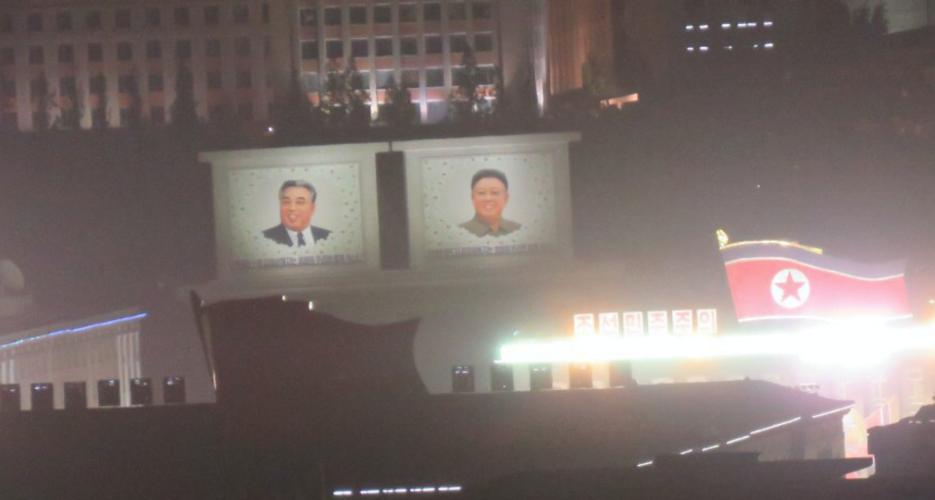 Overnight military parade preparations take place in Kim Il Sung square