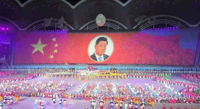 North Korea pays tribute to Chinese President in special mass games finale