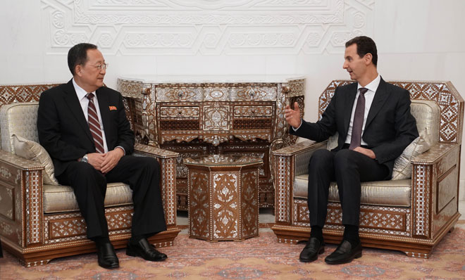 Ri Yong Ho meets Bashar al-Assad during visit to Syria