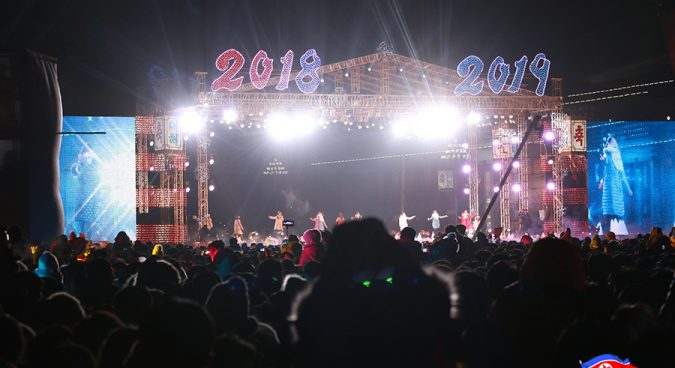 North Korea rings in new year with midnight concert, drone show