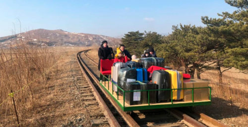 Russian diplomats exit North Korea on trolleys built for evacuating foreigners