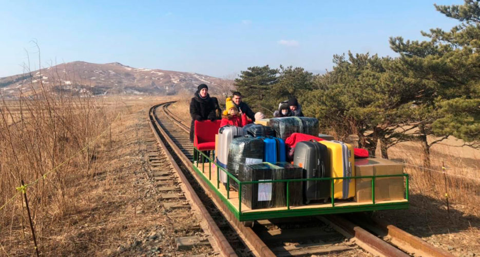 Russian diplomats leave North Korea on rail trolley