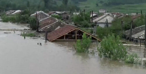 North Korean rocket launch site, villages flooded as state media silent